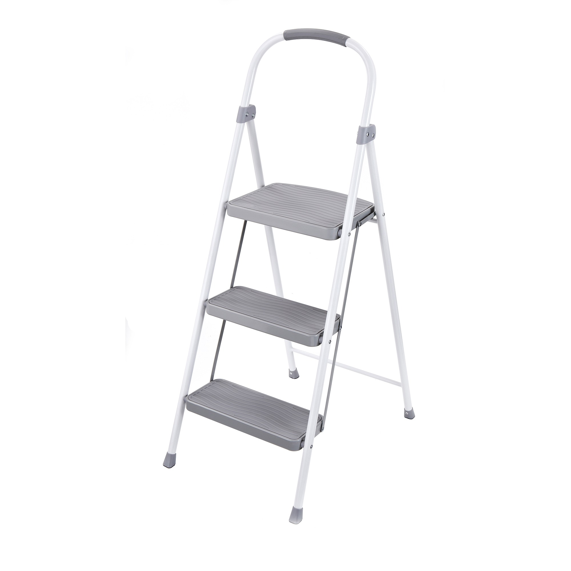 Silver steel step ladder
