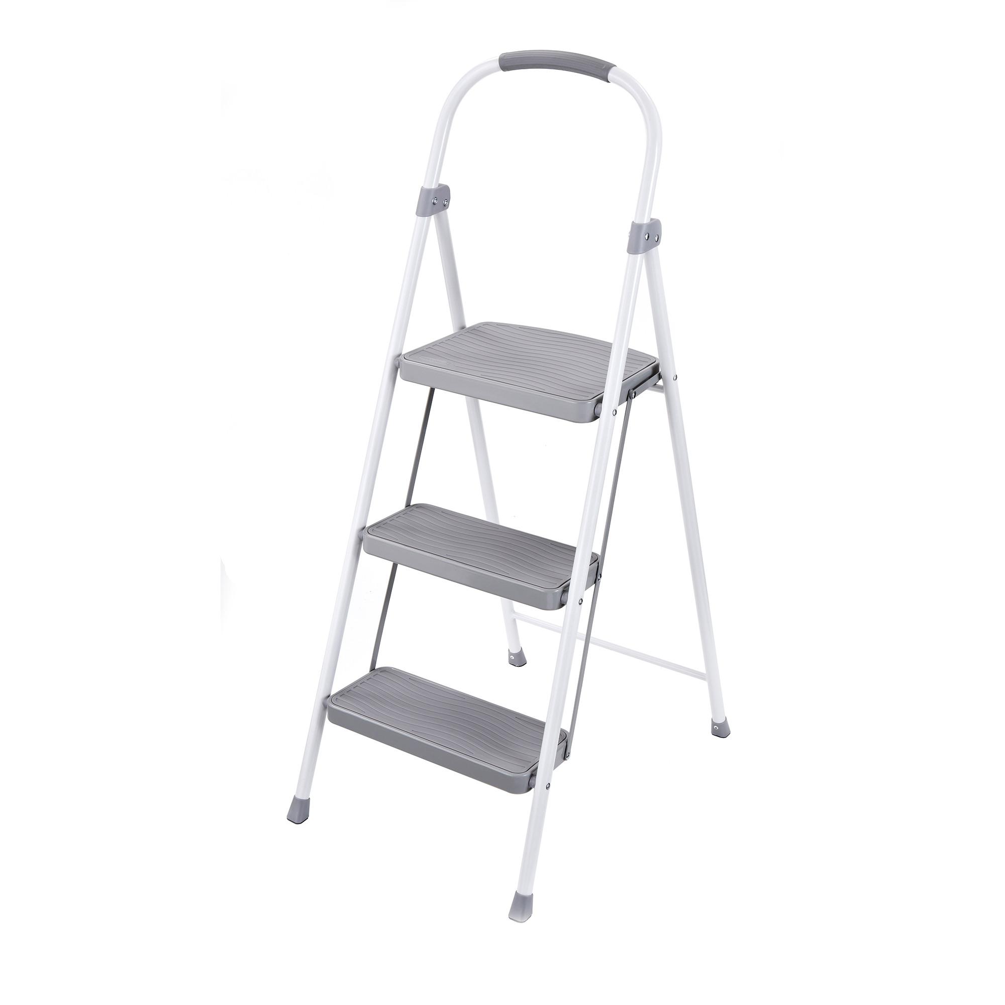 Silver steel step ladder