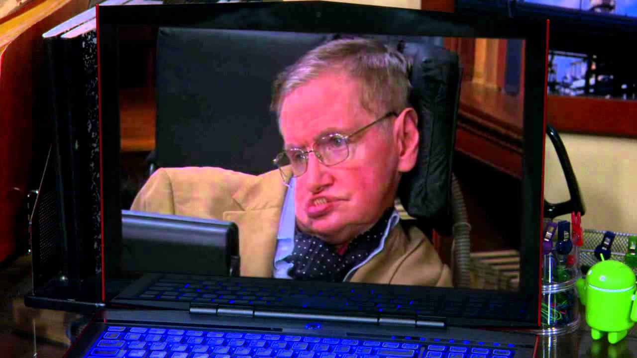 Stephen Hawking on a laptop screen on The Big Bang Theory