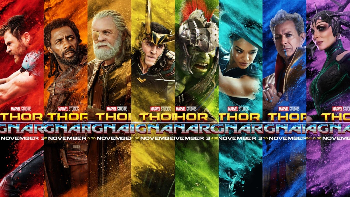 The cast of Thor: Ragnarok in a series of colorful promotional posters