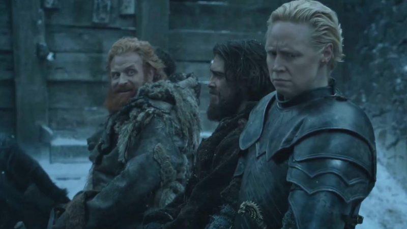 Tormund looks at Brienne on Game of Thrones