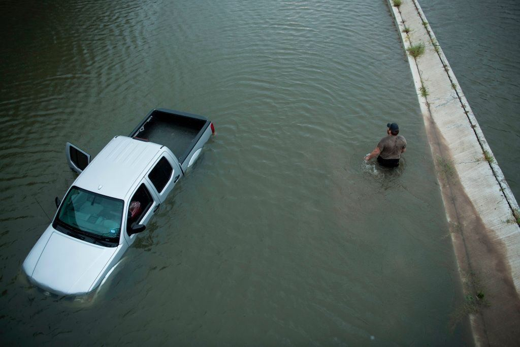 Truck underwater after Hurricane Harvey
