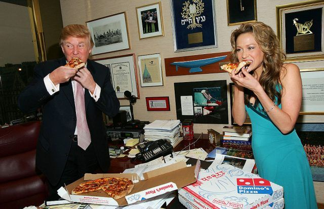 Trump eating pizza