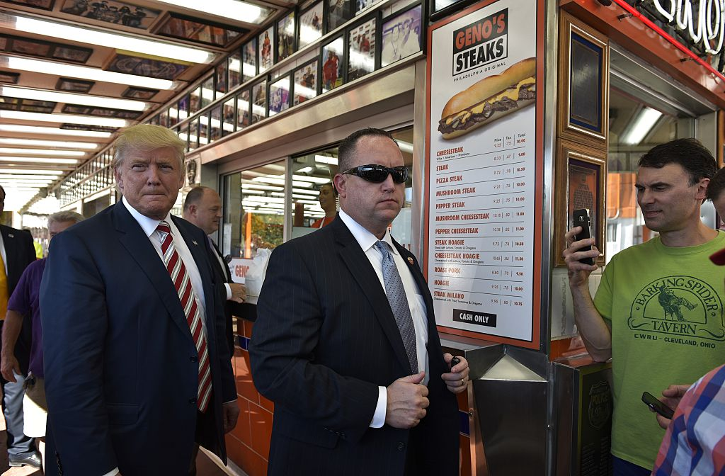 Trump with cheese steak