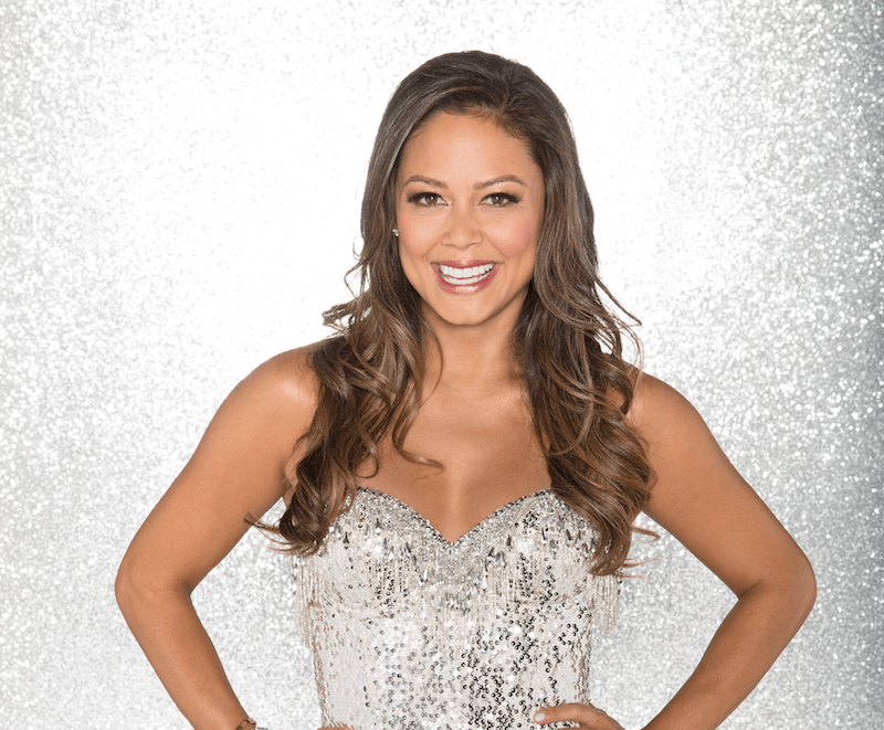 Vanessa Lachey poses with her hands on her hips while wearing a sequin costume