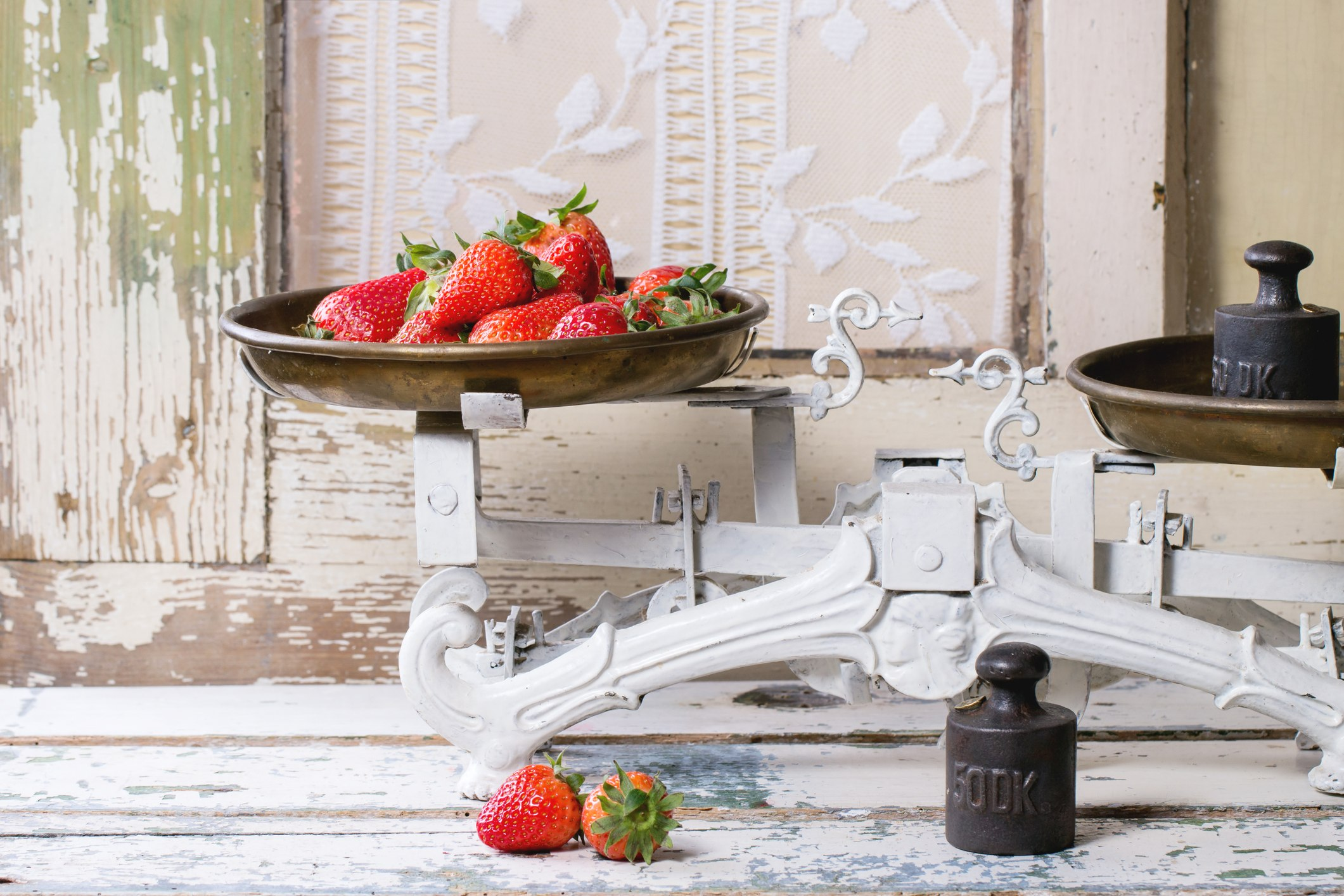 vintage scale with fruit