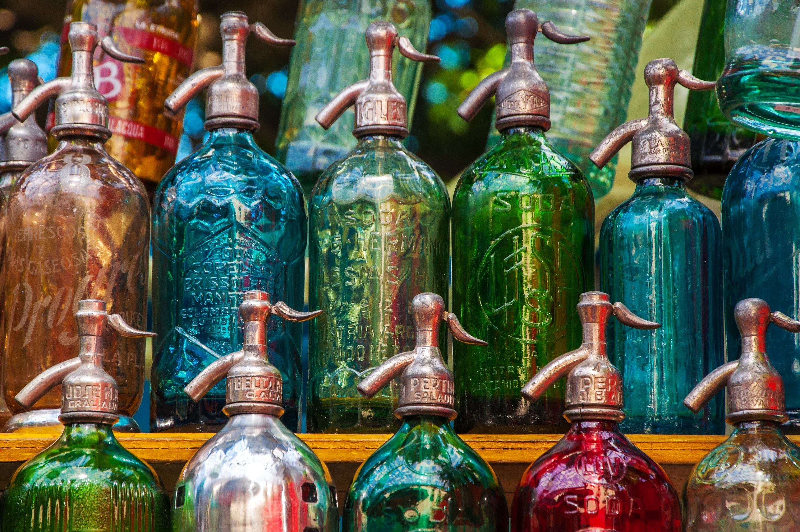 Colorful vintage glass bottles