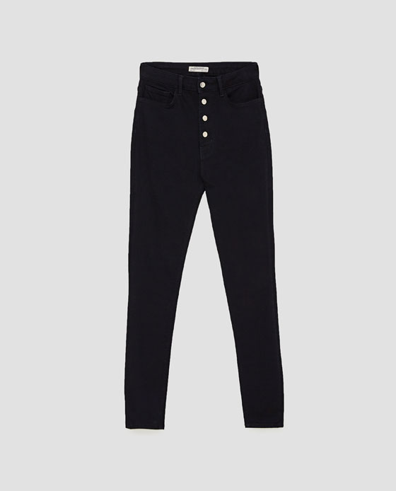 Zara highwaist button fly skinny