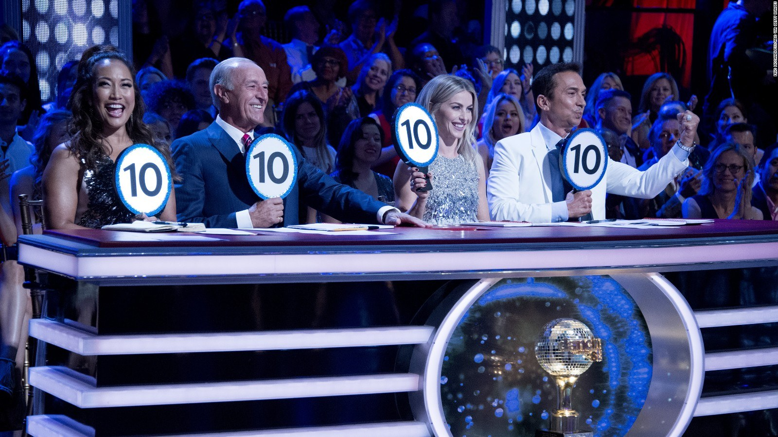 Carrie Ann Inaba, Len Goodman, Julianne Hough, and Bruno Tunioli hold up 10 signs on DWTS