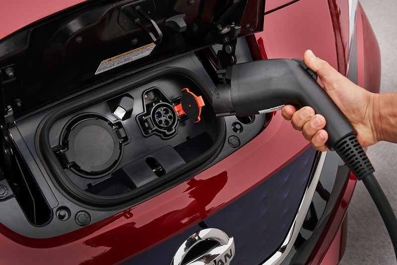 Close-up of 2018 Nissan Leaf Level 2 and fast-charge ports