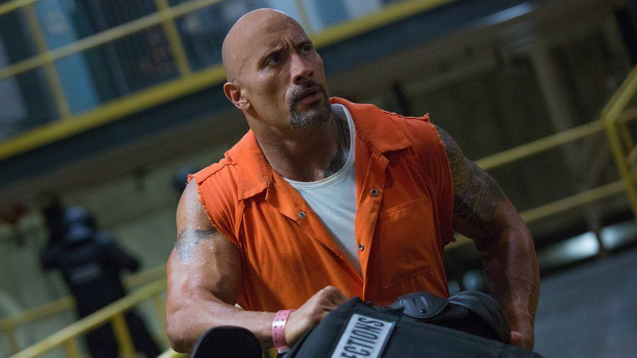 """Dwayne """"The Rock"""" Johnson wears an orange jumpsuit in The Fate of the Furious"""