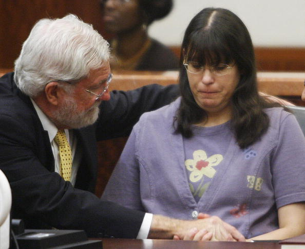 "Andrea Yates sits with her attorney after the ""not guilty by reason of insanity"" verdict"