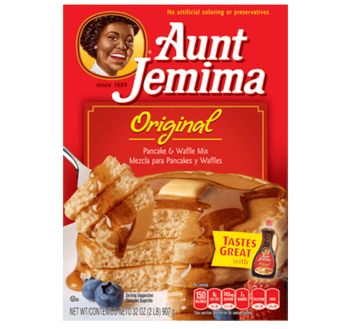 A box of Aunt Jemima pancake mix.