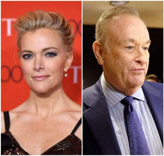 A collage featuring Megyn Kelly and Bill O'Reilly.