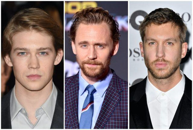 A collage featuring Joe Alwyn, Tom Hiddleston and Calvin Harris.