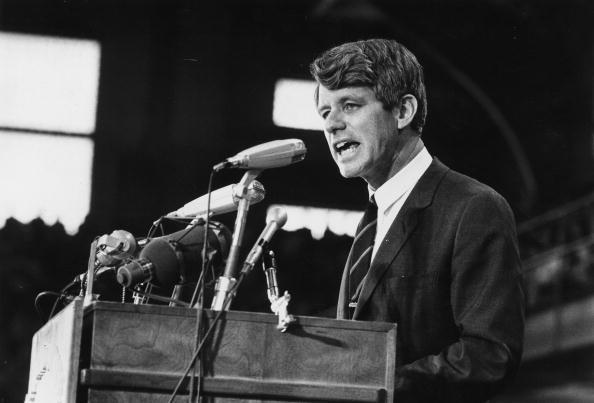 1968: Senator Robert Kennedy speaking at an election rally.
