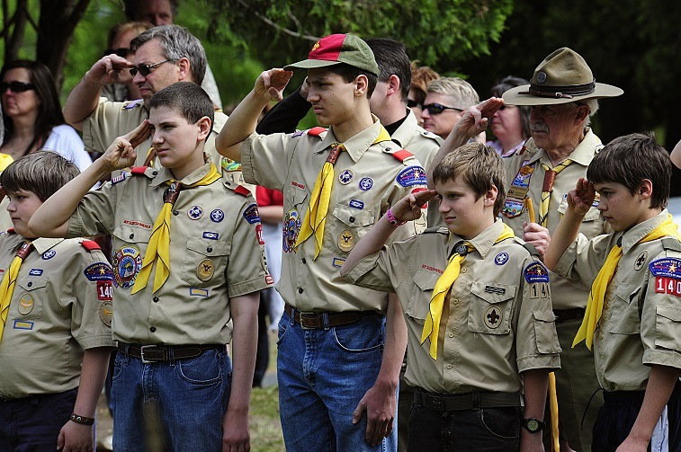 Members of the Boy Scouts salute during the raising of the flag on May 25, 2009 in Hudson, Wis. during Memorial Day ceremonies.