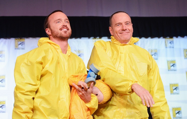 Actors Aaron Paul and Bryan Cranston