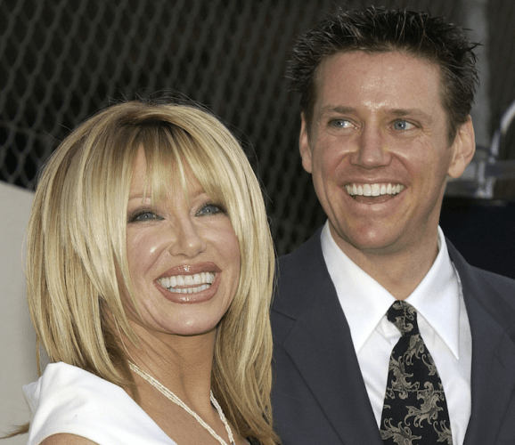 Suzanne Somers and her son Bruce smiling brightly.
