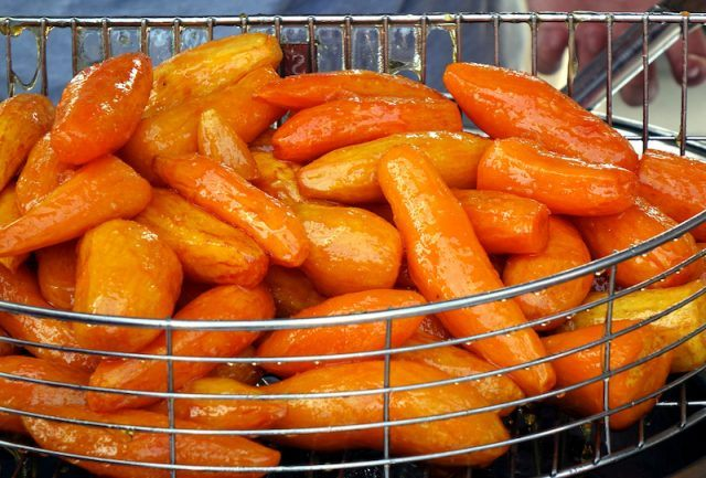 Candied Yams on a silver rack.