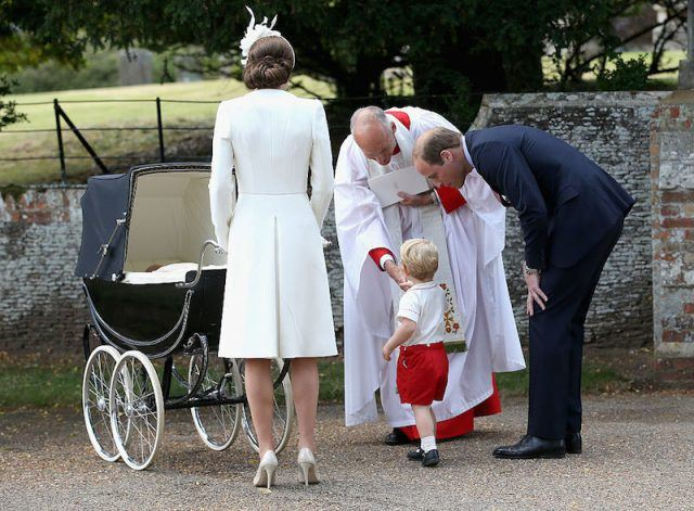 The royal family seen at Princess Charlotte's christening.