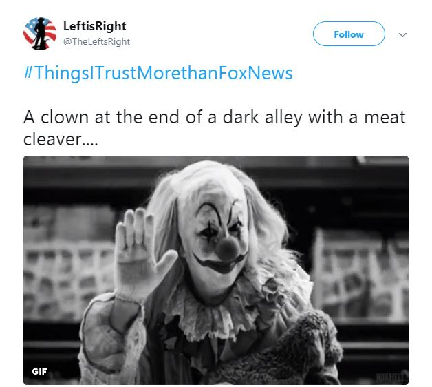 A Tweet about a scary clown