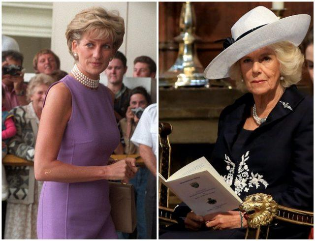 A collage featuring Princess Diana and Camilla Parker-Bowles.