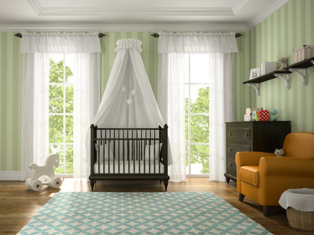 A baby's nursery seen decorated with a white crib tent, patterned carpet and various toys.