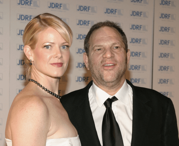 Eve Chilton and Harvey Weinstein standing together at a formal event.