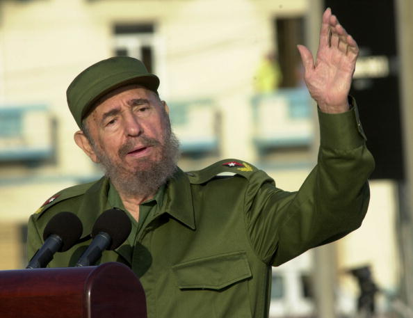 Cuban President Fidel Castro gives a speech in front of the U.S. Interest Section on May 14, 2004 in Havana