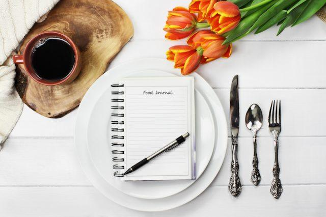 A food diary on a white plate with utensils and coffee.