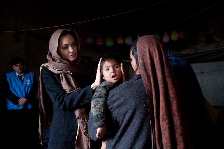 Angelina Jolie in Afghanistan in 2011 helping refugees