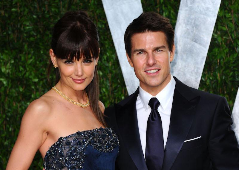 Actress Katie Holmes (L) and actor Tom Cruise arrives at the 2012 Vanity Fair Oscar Party hosted by Graydon Carter at Sunset Tower on February 26, 2012 in West Hollywood, California.