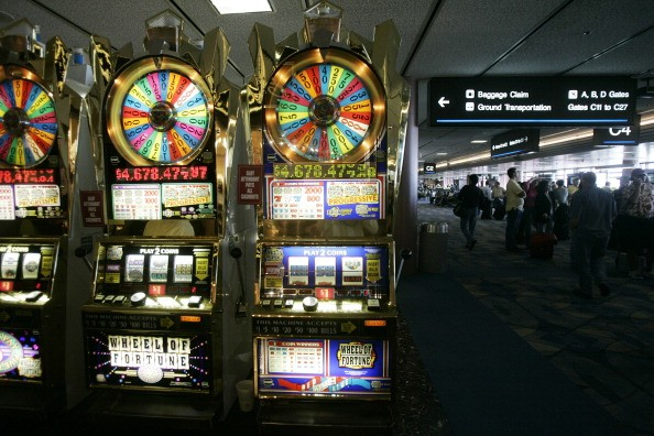 two slot machines in the las vegas airport