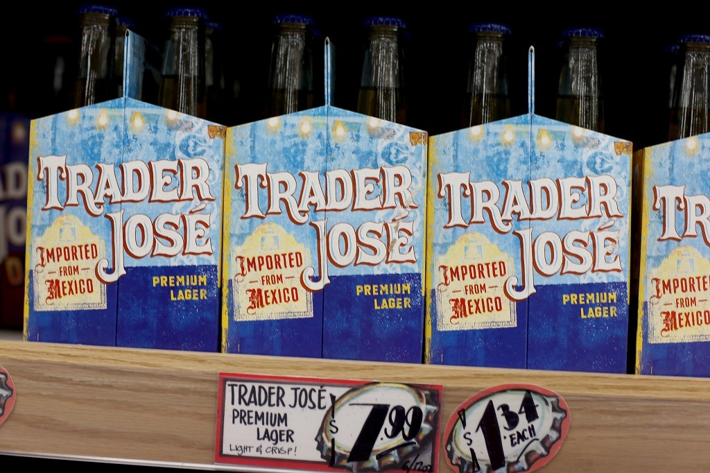 Trader Joe's beer is seen on the shelf during the grand opening of a Trader Joe's in Pinecrest, Florida.