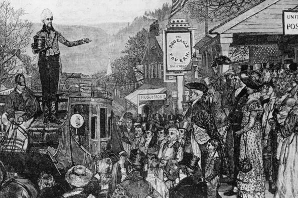 black and white drawing of andrew jackson and a crowd