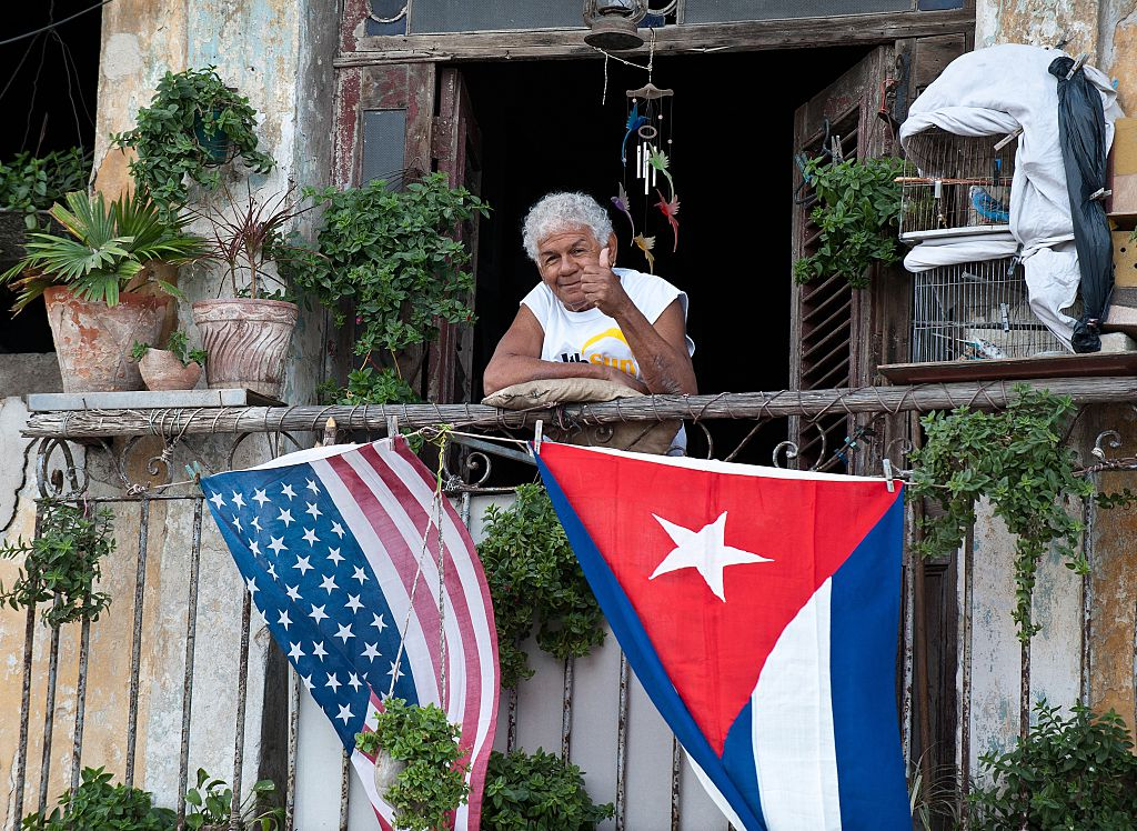 Cuban and American flags on balcony