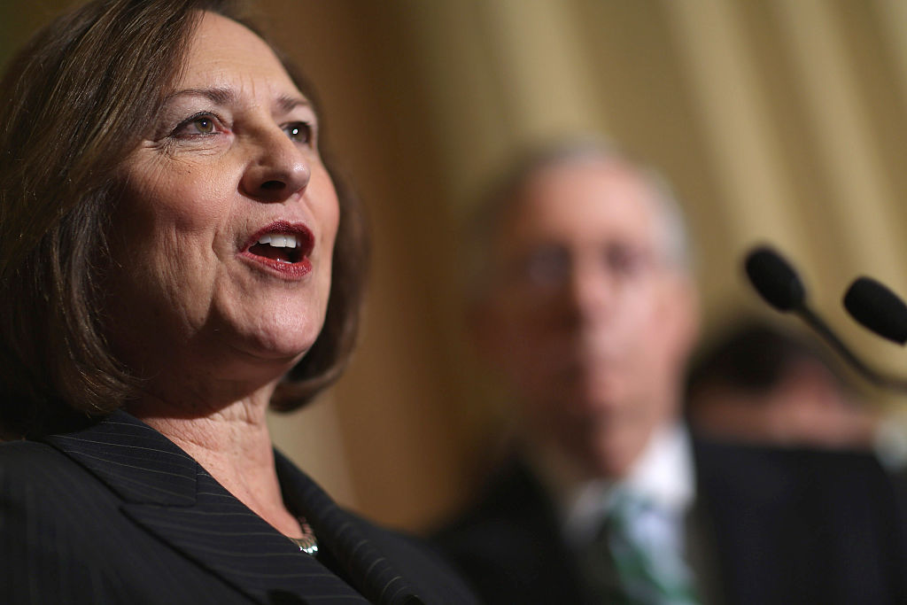 Deb Fischer speaks facing right, with another man in the background