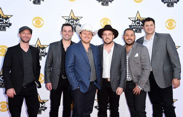 (L-R) Musicians Austin Davis, Caleb Keeter, Josh Abbott, Preston Wait, Edward Villanueva and James Hertless of the Josh Abbott Band