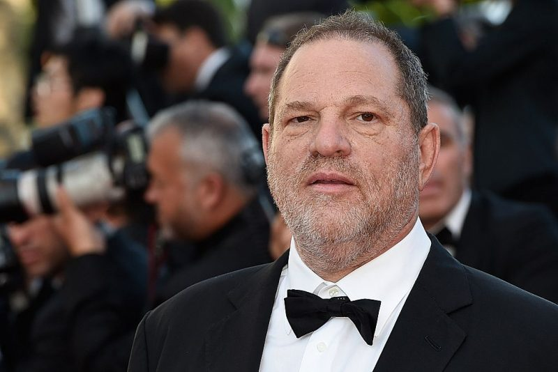 Harvey Weinstein tight on his face in a tuxedo