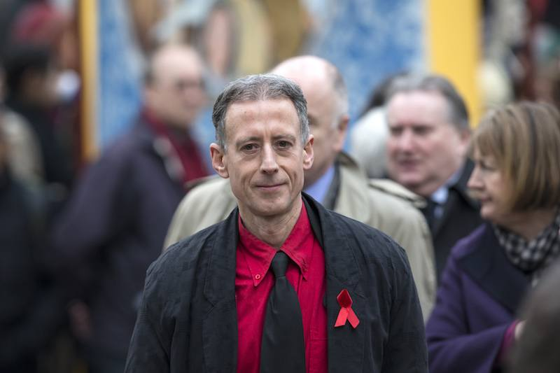 Peter Tatchell arrives at St Margaret's Church to attend the funeral for Tony Benn on March 27, 2014 in London, England
