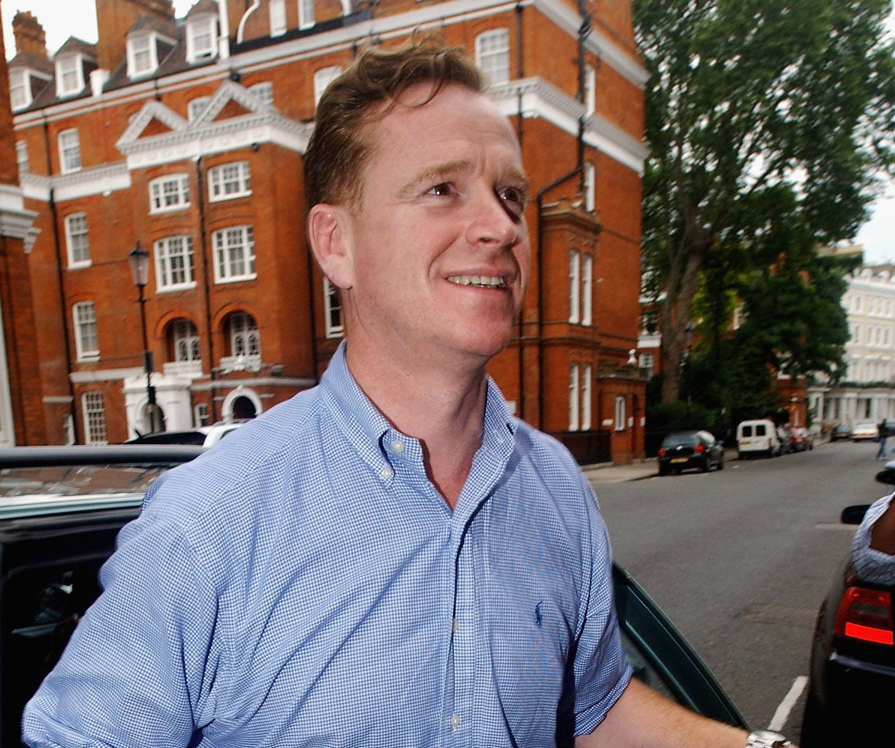LONDON - JULY 22: Major James Hewitt returns home, following his arrest on drugs charges last night, to his South Kensington residence on July 22, 2004 in London. The Major was detained at the Cactus Bar in Fulham Road along with former Sky News freelance presenter Alison Bell on suspicion of supplying class A drugs. Both were questioned at Notting Hill police station before being bailed until September. (Photo by Steve Finn/Getty Images)