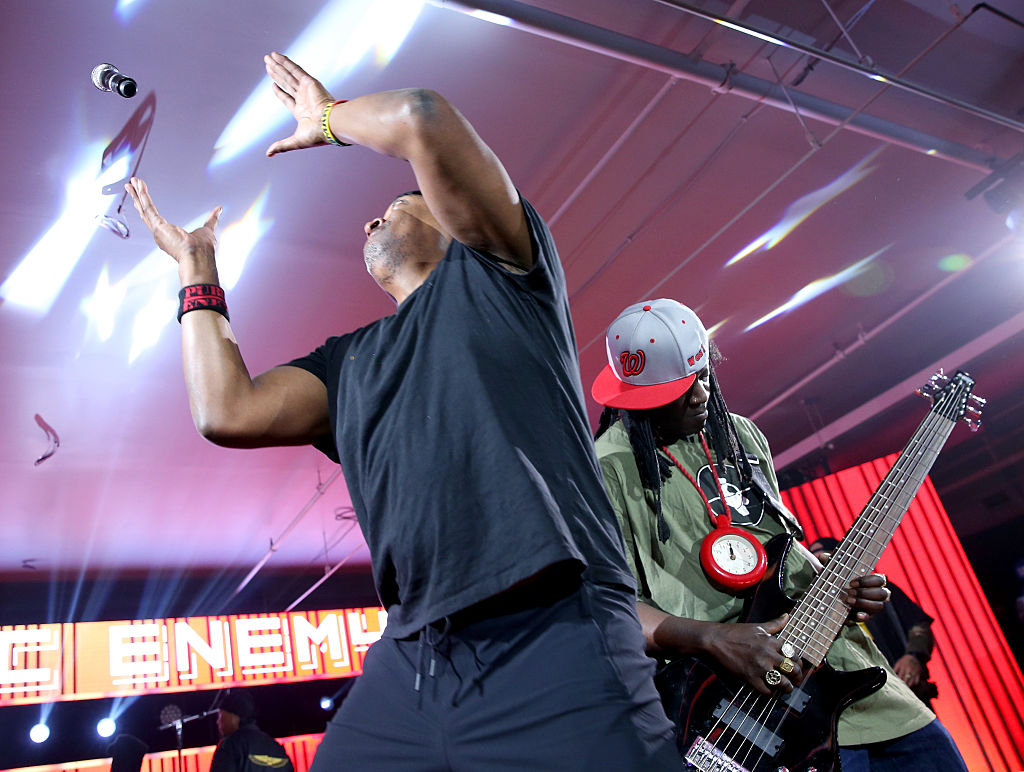 Rappers Chuck D and Flavor Flav of Public Enemy perform onstage