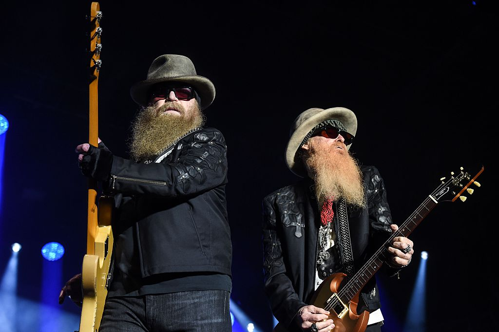 Members of the band ZZ Top, Dusty Hill and Billy Gibbons