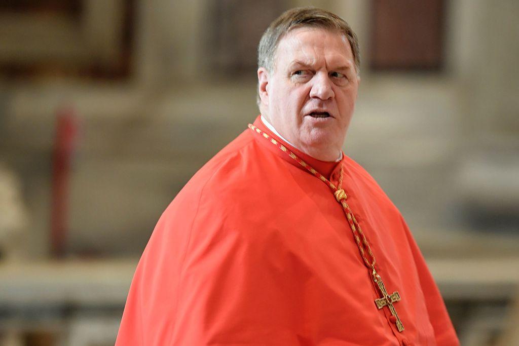 Cardinal Joseph Tobin in a red robe