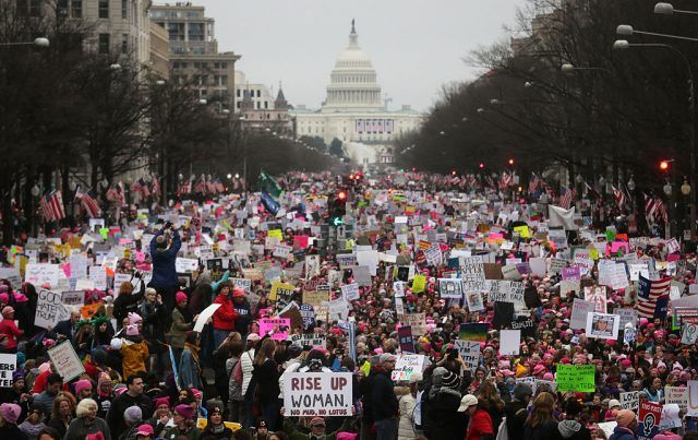 A sea of protestors in front of the US capitol during the Women's March.