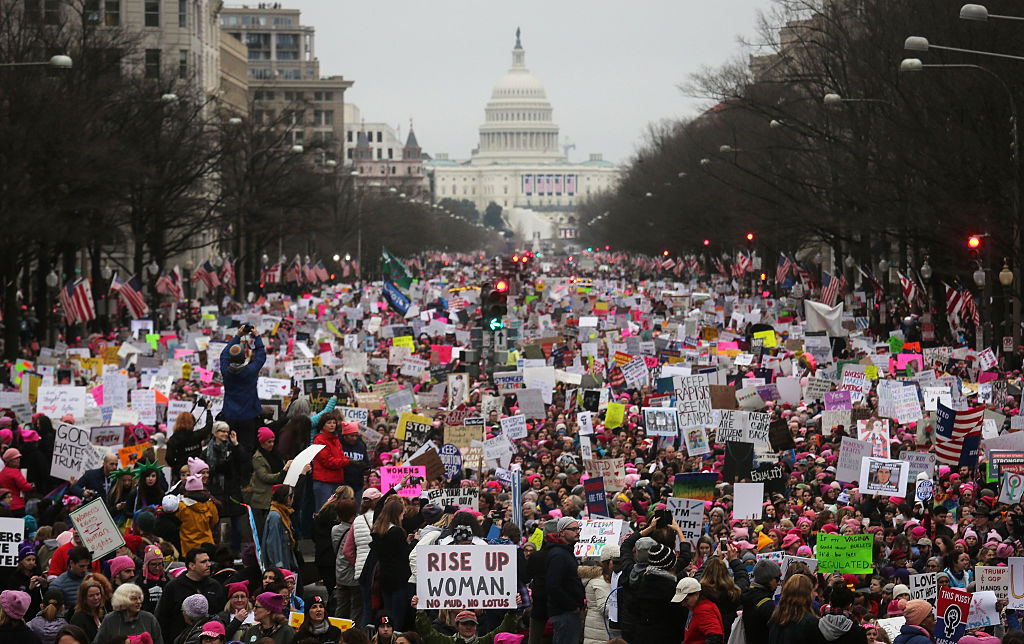 a sea of women in front of the US capitol during the womens march