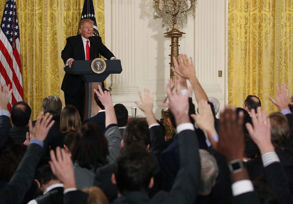 Trump speaking to a group of the media in the White House press room