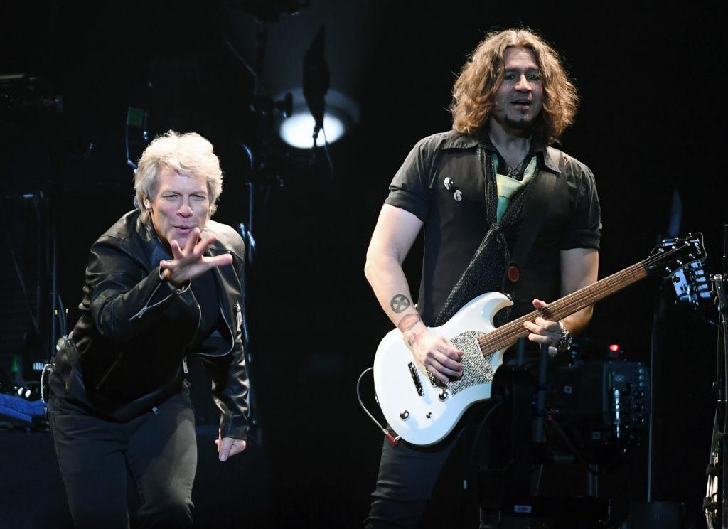 Jon Bon Jovi and guitarist Phil X of Bon Jovi perform