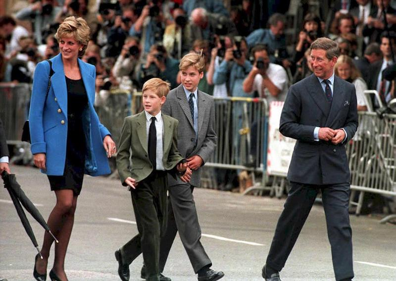 The Prince and Princess of Wales and their sons Prince William (R) and Prince Harry, on William's first day at Eton. Diana, Princess of Wales, and her friend, Dodi Fayed, died in a car crash t 31 August in Paris
